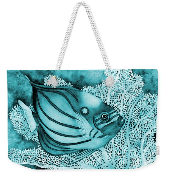 Blue Ring Angelfish On Blue Weekender Tote Bag