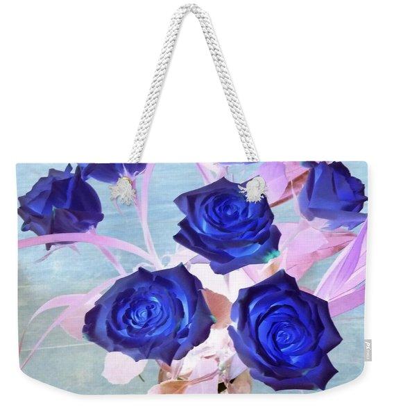 Blue Roses Abstract Weekender Tote Bag