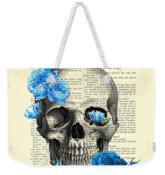 Blue Roses With Skull Art Print Weekender Tote Bag