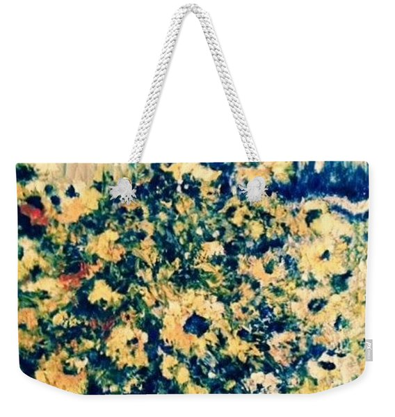 Weekender Tote Bag featuring the photograph Blue Septembre by Laurie Lundquist