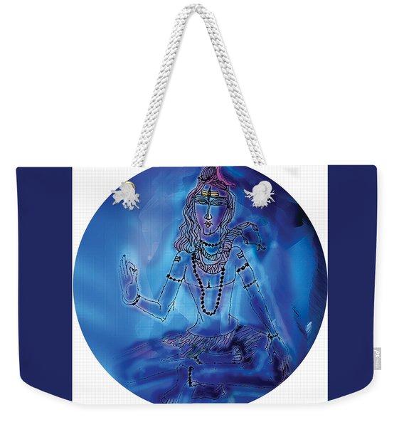 Weekender Tote Bag featuring the painting Blue Shiva  by Guruji Aruneshvar Paris Art Curator Katrin Suter