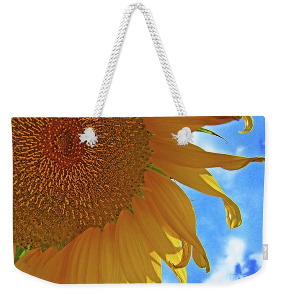 Blue Sky Sunflower Weekender Tote Bag