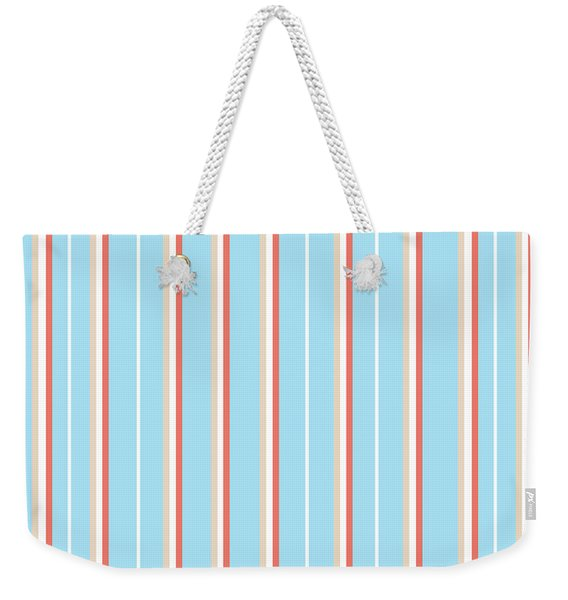 Blue Stripe Pattern Weekender Tote Bag