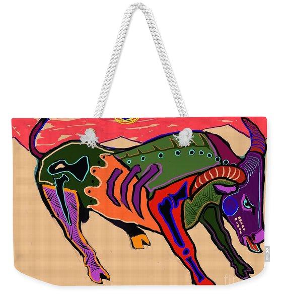 Blue Sun And Bull Weekender Tote Bag