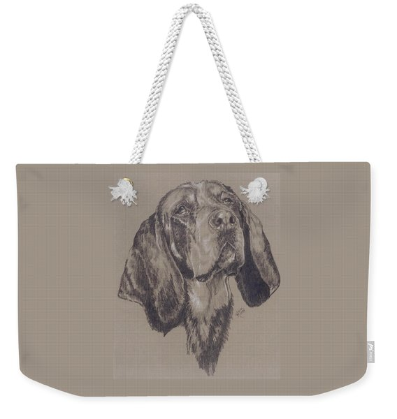 Weekender Tote Bag featuring the drawing Bluetick Coonhound In Graphite by Barbara Keith