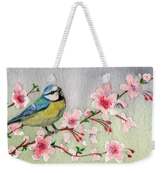 Blue Tit Bird On Cherry Blossom Tree Weekender Tote Bag