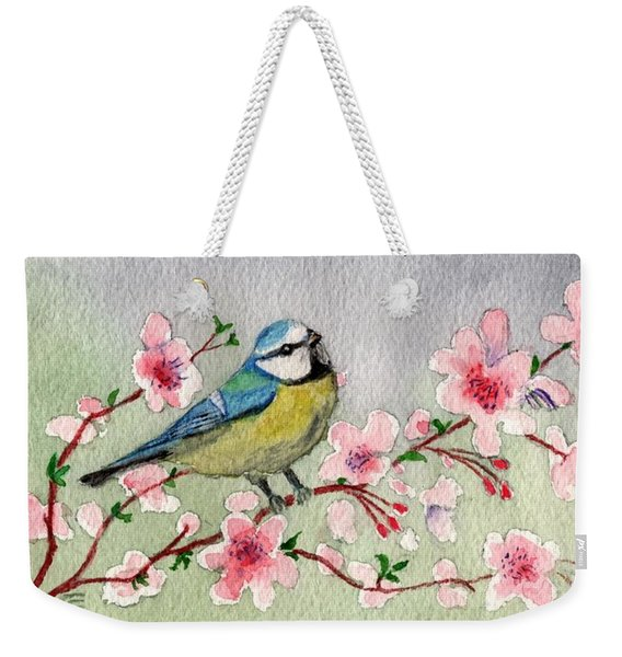 Blue Tit Bird On Cherry Blossom Tree Weekender Tote Bag