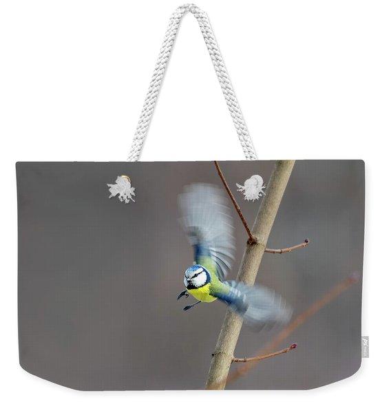 Blue Tit In Flight Weekender Tote Bag