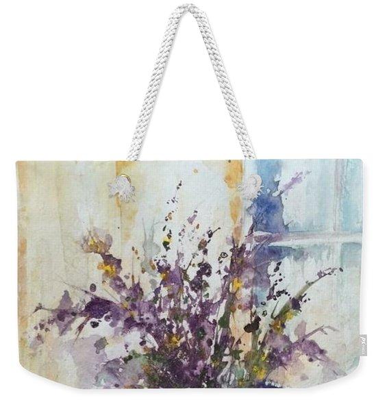 Blue Vase Of Lavender And Wildflowers Aka Vase Bleu Lavande Et Wildflowers  Weekender Tote Bag