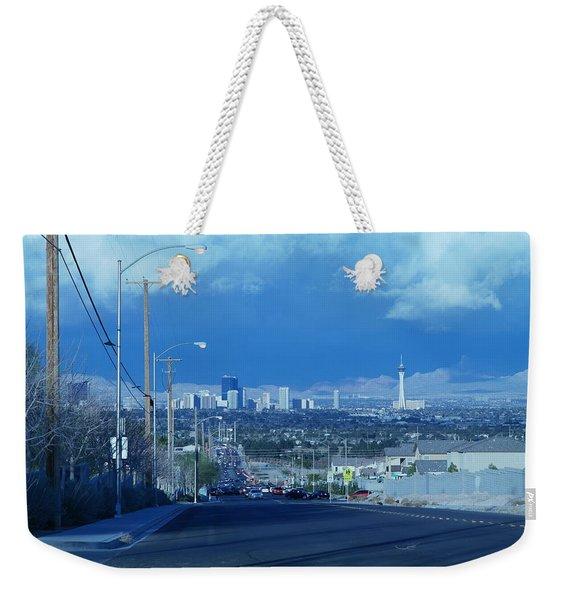 Blue Vegas Weekender Tote Bag