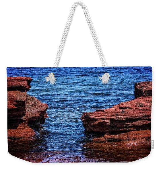Blue Water Between Red Stone Weekender Tote Bag