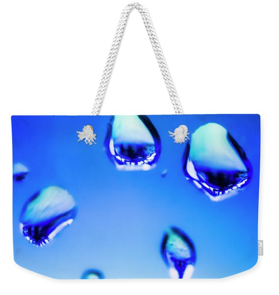 Blue Water Droplets On Glass Weekender Tote Bag