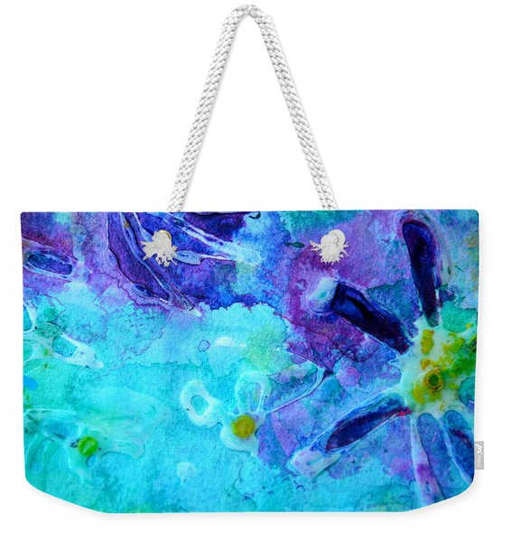 Blue Water Flower Weekender Tote Bag
