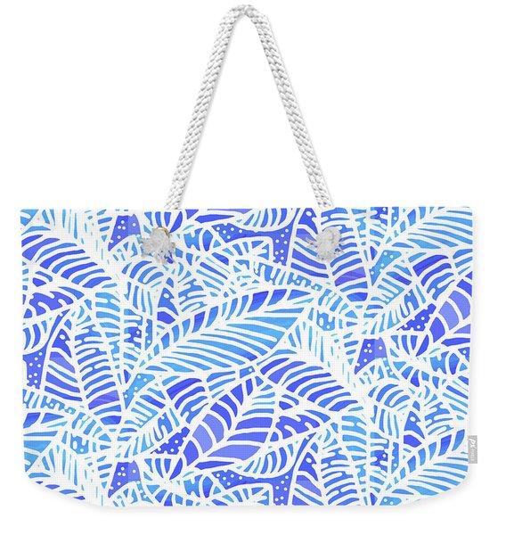 Blue Water Leaves Weekender Tote Bag
