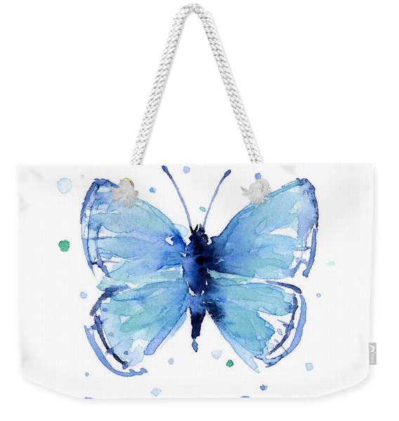 Blue Watercolor Butterfly Weekender Tote Bag