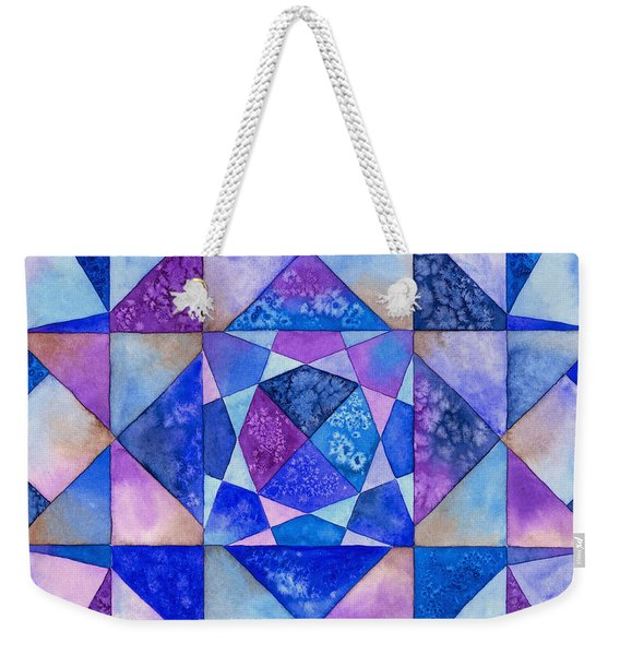 Blue Watercolor Quilt Weekender Tote Bag