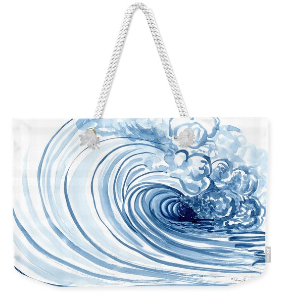 Blue Wave Modern Loose Curling Wave Weekender Tote Bag