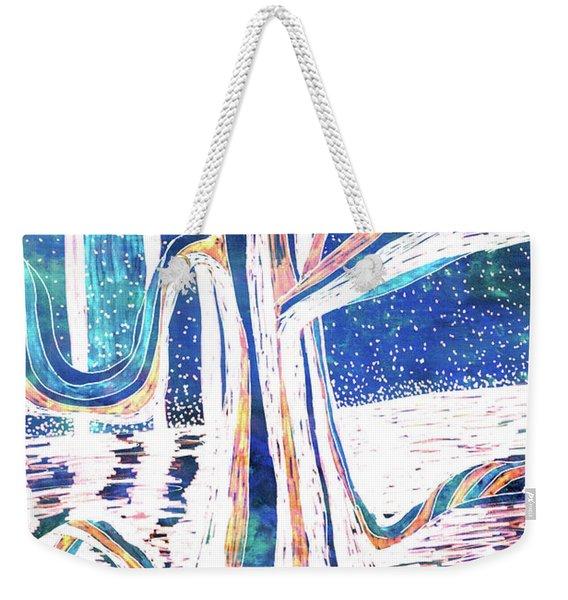 Blue-white Full Moon River Tree Weekender Tote Bag