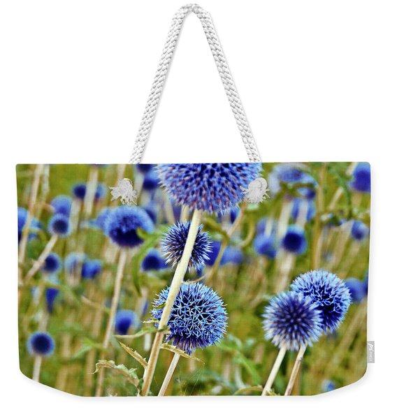 Blue Wild Thistle Weekender Tote Bag