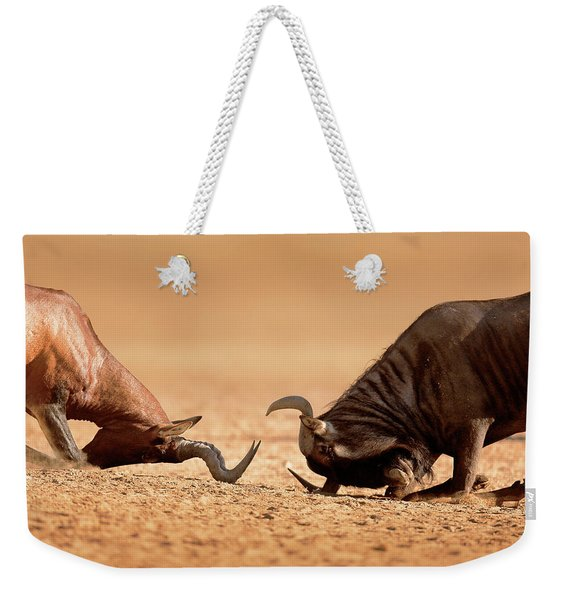 Blue Wildebeest Sparring With Red Hartebeest Weekender Tote Bag