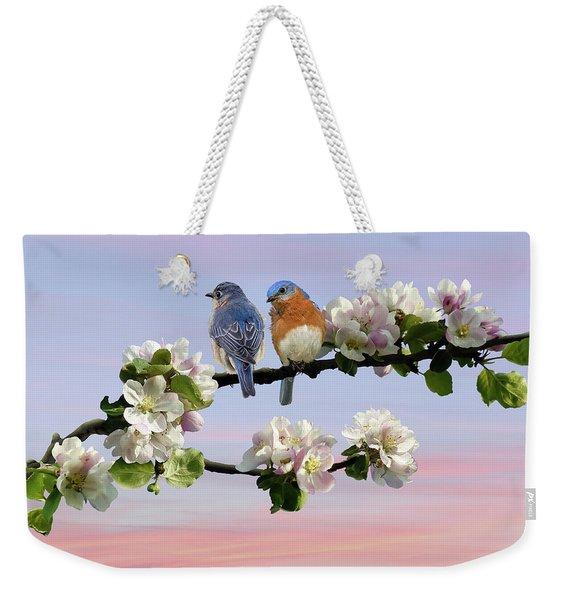 Bluebirds In Apple Tree Weekender Tote Bag