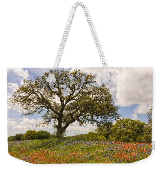 Bluebonnets Paintbrush And An Old Oak Tree - Texas Hill Country Weekender Tote Bag
