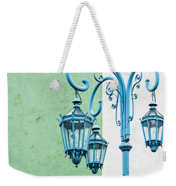 Blue,green And White Weekender Tote Bag