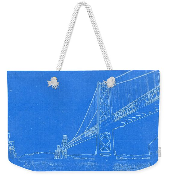 Blueprint Of Suspension Bridge Weekender Tote Bag
