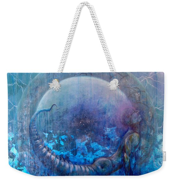 Weekender Tote Bag featuring the painting Bluestargate by Ashley Kujan