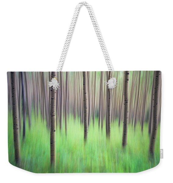 Blurred Aspen Trees Weekender Tote Bag
