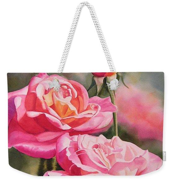 Blushing Roses With Bud Weekender Tote Bag
