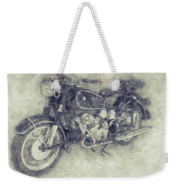 Bmw R60/2 - 1956 - Bmw Motorcycles 1 - Vintage Motorcycle Poster - Automotive Art Weekender Tote Bag