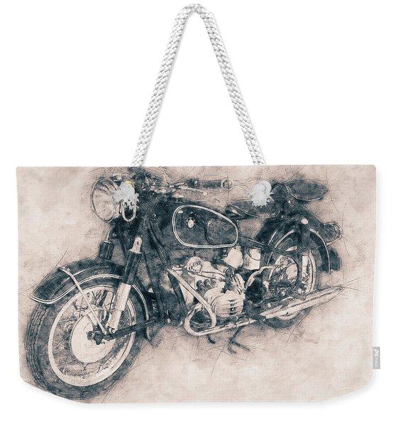 Bmw R60/2 - 1956 - Bmw Motorcycles - Vintage Motorcycle Poster - Automotive Art Weekender Tote Bag