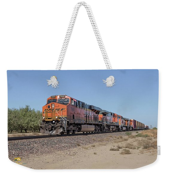 Weekender Tote Bag featuring the photograph Bnsf7890 by Jim Thompson