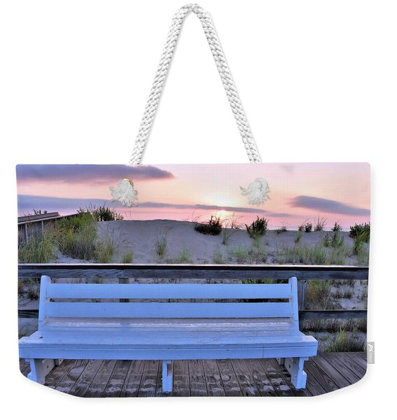 Weekender Tote Bag featuring the photograph A Welcome Invitation -  The Boardwalk Bench by Kim Bemis