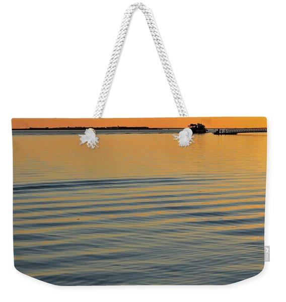 Boat And Dock At Dusk Weekender Tote Bag