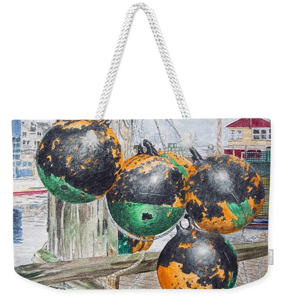 Weekender Tote Bag featuring the painting Boat Bumpers by Dominic White