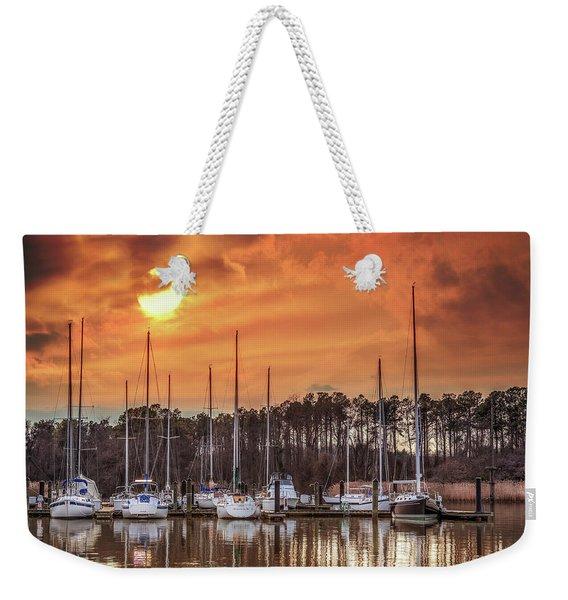 Boat Marina On The Chesapeake Bay At Sunset Weekender Tote Bag