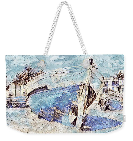 Boat On Sand Of A Beach Shore Weekender Tote Bag