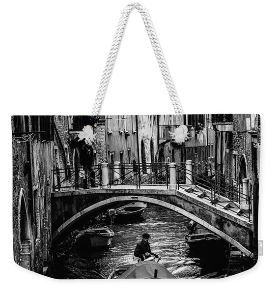 Boat On The River-bw Weekender Tote Bag