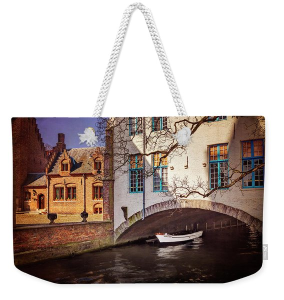Boat Under A Little Bridge In Bruges  Weekender Tote Bag