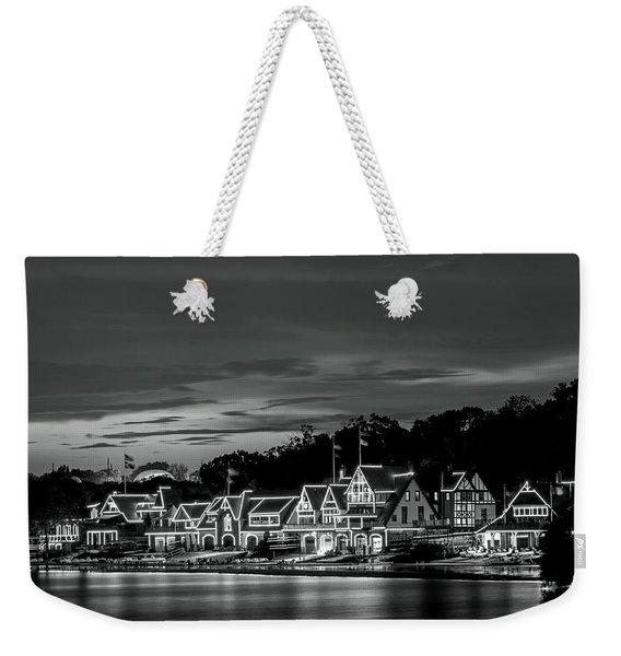 Boathouse Row Philadelphia Pa Night Black And White Weekender Tote Bag