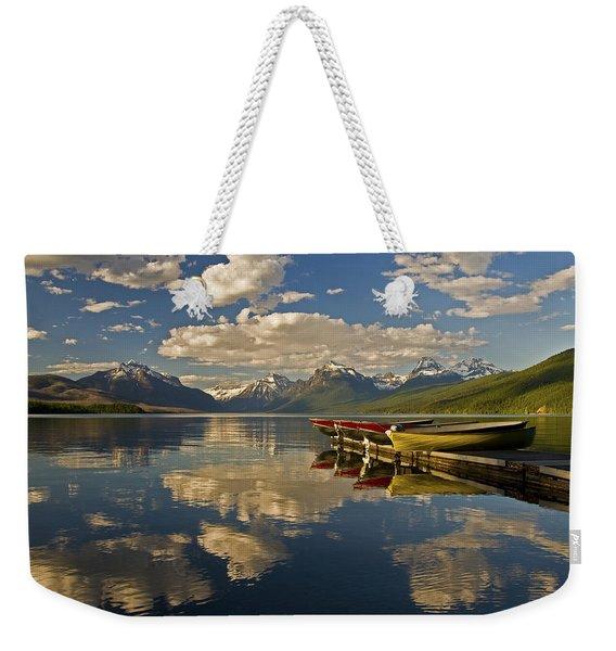 Boats At Lake Mcdonald Weekender Tote Bag