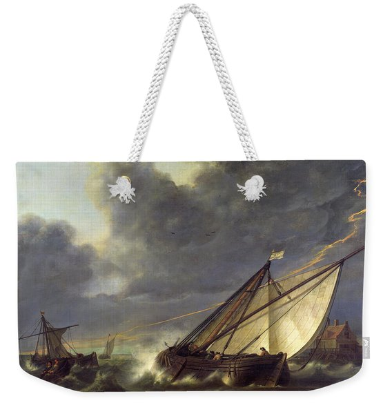 Boats In The Estuary Of Holland Diep In A Storm Weekender Tote Bag
