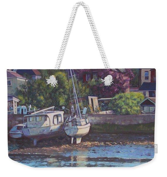Boats On Riverside Park Bank Weekender Tote Bag