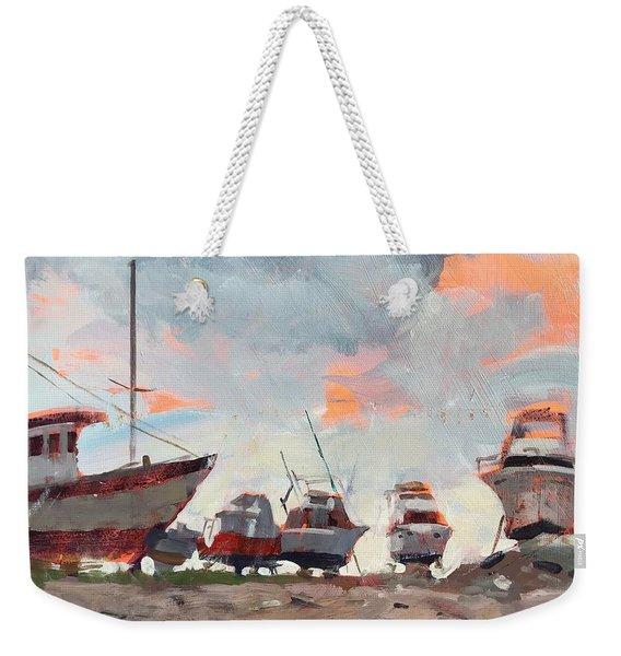 Boatyard Silhouettes Weekender Tote Bag