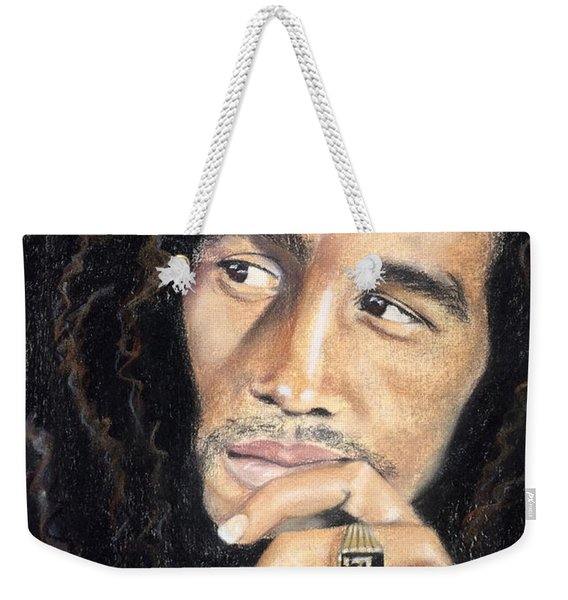 Weekender Tote Bag featuring the drawing Bob Marley by Ashley Kujan