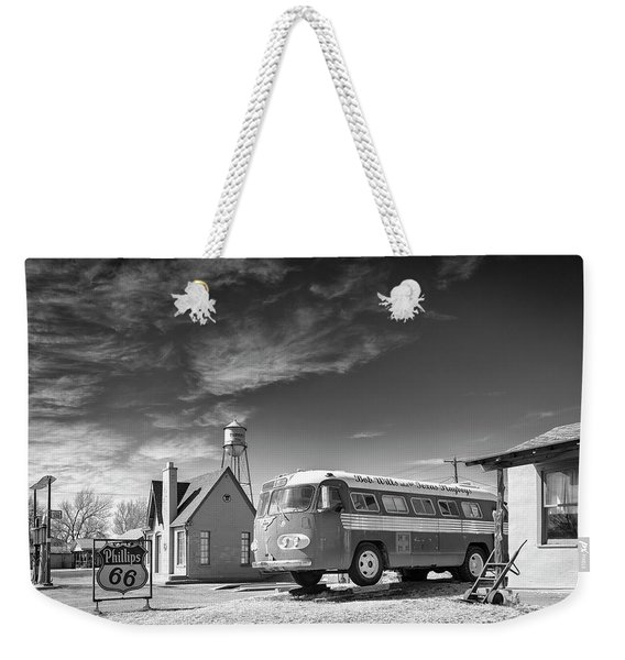 Weekender Tote Bag featuring the photograph Bob Wills And The Texas Playboys Tour Bus Turkey Tx by Mary Lee Dereske