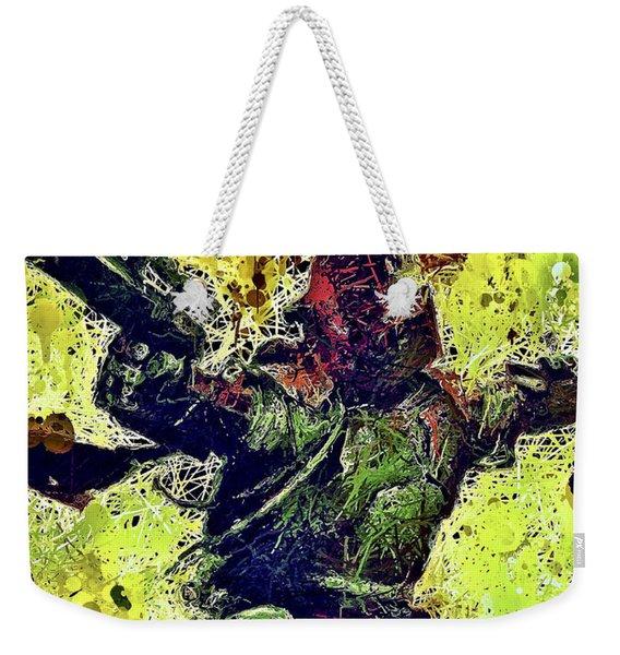 Weekender Tote Bag featuring the mixed media Boba Fett by Al Matra