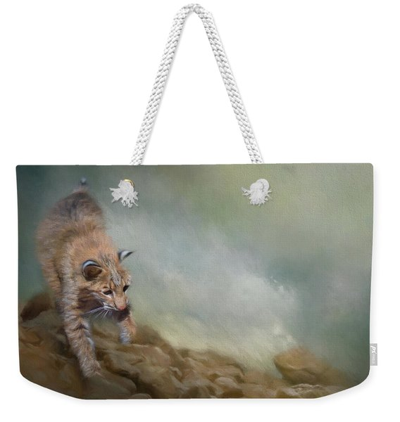 Bobcat On The Rocks Weekender Tote Bag